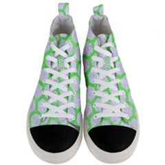 Hexagon2 White Marble & Green Watercolor (r) Men s Mid Top Canvas Sneakers
