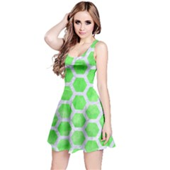 Hexagon2 White Marble & Green Watercolor Reversible Sleeveless Dress