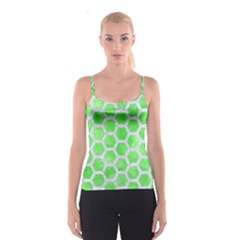 Hexagon2 White Marble & Green Watercolor Spaghetti Strap Top