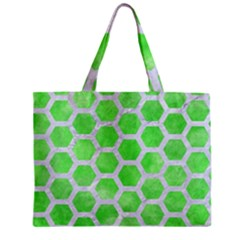 Hexagon2 White Marble & Green Watercolor Zipper Mini Tote Bag