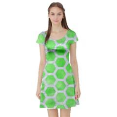 Hexagon2 White Marble & Green Watercolor Short Sleeve Skater Dress