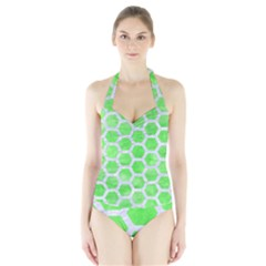 Hexagon2 White Marble & Green Watercolor Halter Swimsuit