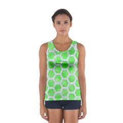 Hexagon2 White Marble & Green Watercolor Sport Tank Top