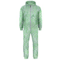 Hexagon1 White Marble & Green Watercolor (r) Hooded Jumpsuit (men)