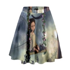 Cute Little Fairy With Kitten On A Swing High Waist Skirt by FantasyWorld7