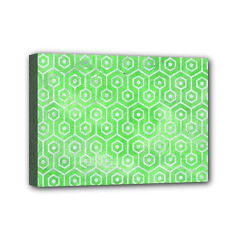 Hexagon1 White Marble & Green Watercolor Mini Canvas 7  X 5  by trendistuff