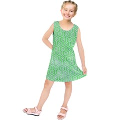 Hexagon1 White Marble & Green Watercolor Kids  Tunic Dress