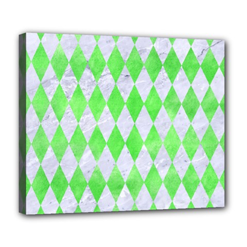 Diamond1 White Marble & Green Watercolor Deluxe Canvas 24  X 20