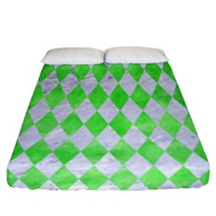Diamond1 White Marble & Green Watercolor Fitted Sheet (california King Size)