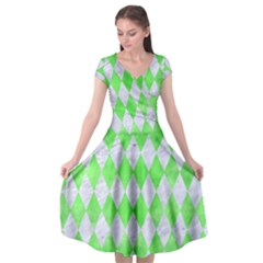 Diamond1 White Marble & Green Watercolor Cap Sleeve Wrap Front Dress