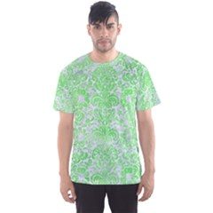 Damask2 White Marble & Green Watercolor (r) Men s Sports Mesh Tee