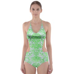 Damask2 White Marble & Green Watercolor (r) Cut Out One Piece Swimsuit