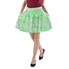 Damask2 White Marble & Green Watercolor (r) A Line Pocket Skirt