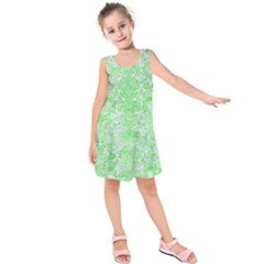 Damask2 White Marble & Green Watercolor (r) Kids  Sleeveless Dress