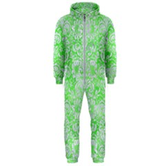Damask2 White Marble & Green Watercolor Hooded Jumpsuit (men)