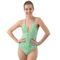 Damask2 White Marble & Green Watercolor Halter Cut Out One Piece Swimsuit