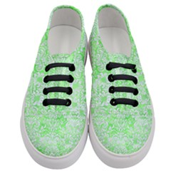 Damask2 White Marble & Green Watercolor Women s Classic Low Top Sneakers