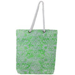Damask2 White Marble & Green Watercolor Full Print Rope Handle Tote (large)