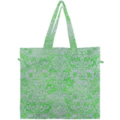 Damask2 White Marble & Green Watercolor Canvas Travel Bag by trendistuff