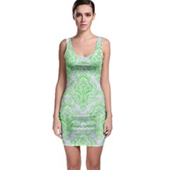 Damask1 White Marble & Green Watercolor (r) Bodycon Dress