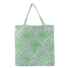 Damask1 White Marble & Green Watercolor (r) Grocery Tote Bag