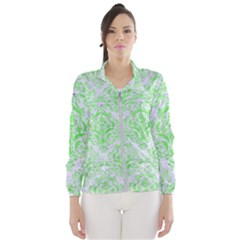 Damask1 White Marble & Green Watercolor (r) Windbreaker (women)
