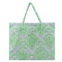 Damask1 White Marble & Green Watercolor (r) Zipper Large Tote Bag