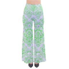 Damask1 White Marble & Green Watercolor (r) So Vintage Palazzo Pants