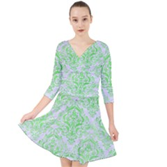 Damask1 White Marble & Green Watercolor (r) Quarter Sleeve Front Wrap Dress