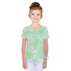 Damask1 White Marble & Green Watercolor (r) Kids  One Piece Tee