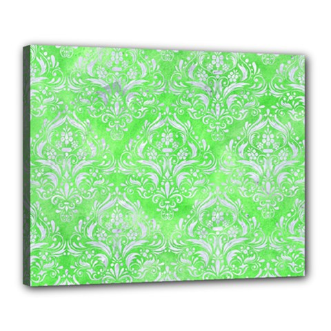 Damask1 White Marble & Green Watercolor Canvas 20  X 16