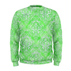 Damask1 White Marble & Green Watercolor Men s Sweatshirt