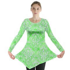 Damask1 White Marble & Green Watercolor Long Sleeve Tunic