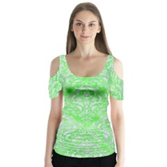 Damask1 White Marble & Green Watercolor Butterfly Sleeve Cutout Tee