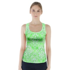 Damask1 White Marble & Green Watercolor Racer Back Sports Top