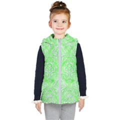 Damask1 White Marble & Green Watercolor Kid s Hooded Puffer Vest