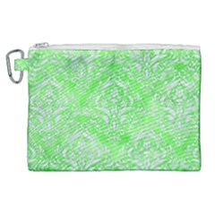 Damask1 White Marble & Green Watercolor Canvas Cosmetic Bag (xl) by trendistuff