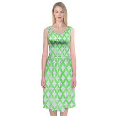 Circles3 White Marble & Green Watercolor (r) Midi Sleeveless Dress