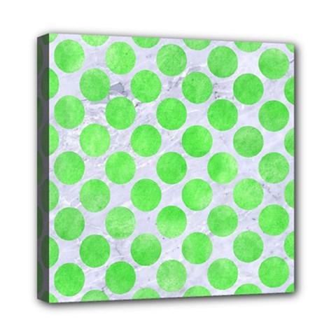 Circles2 White Marble & Green Watercolor (r) Mini Canvas 8  X 8