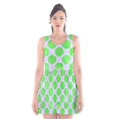 Circles2 White Marble & Green Watercolor (r) Scoop Neck Skater Dress