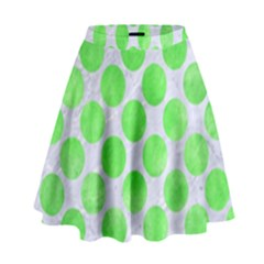 Circles2 White Marble & Green Watercolor (r) High Waist Skirt