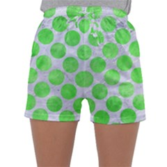 Circles2 White Marble & Green Watercolor (r) Sleepwear Shorts