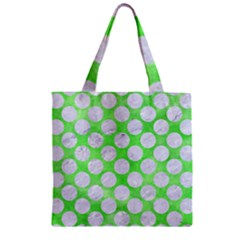 Circles2 White Marble & Green Watercolor Zipper Grocery Tote Bag