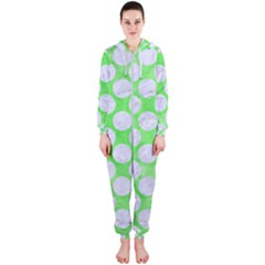 Circles2 White Marble & Green Watercolor Hooded Jumpsuit (ladies)