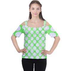 Circles2 White Marble & Green Watercolor Cutout Shoulder Tee