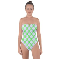 Circles2 White Marble & Green Watercolor Tie Back One Piece Swimsuit