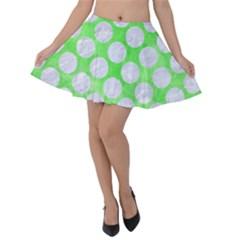 Circles2 White Marble & Green Watercolor Velvet Skater Skirt
