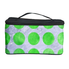 Circles1 White Marble & Green Watercolor (r) Cosmetic Storage Case