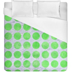 Circles1 White Marble & Green Watercolor (r) Duvet Cover (king Size) by trendistuff