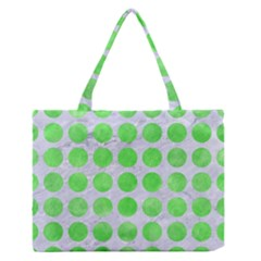 Circles1 White Marble & Green Watercolor (r) Zipper Medium Tote Bag